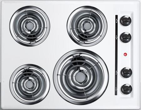 WEL03 24 Coil Electric Cooktop With 4 Coil Elements  Porcelain Cooking Surface  Recessed Top  Chrome Drip Bowls  220V Electric Cooktop  In