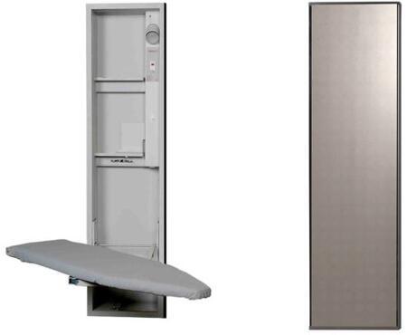"UD42MDU 15"" Ironing Center with  Storage Shelves  Garment Bar  Full Length Piano Hinge and Hot Iron Storage: Mirror"
