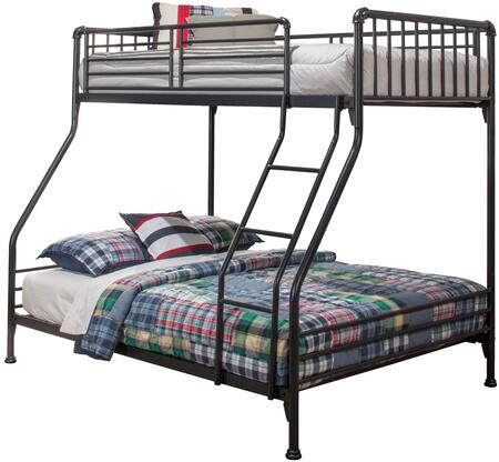 Brandi Collection 2124BTF Twin Over Full Size Bunk Bed with Open Frame Design  Ladder  Guardrails and Sturdy Steel Metal Construction in