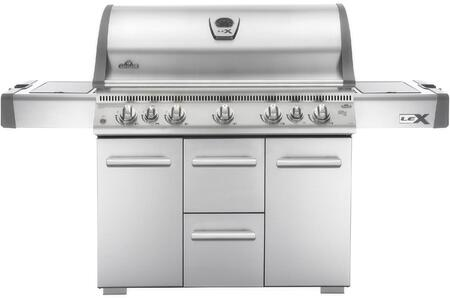 "LEX730RSBIPSS 76"" Lex 730 Series Freestanding Liquid Propane Grill with 4 Stainless Steel Bottom Burners  1 Ceramic Infrared Bottom Burner  1 Rear Infrared"