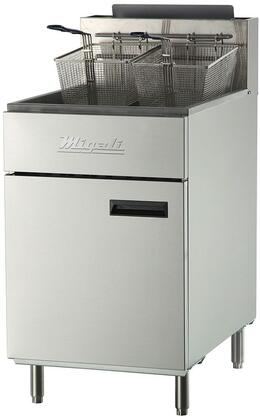 C-F75-NG 22 inch  Commercial Natural Gas Fryer with 5 Burners  170000 Total BTU  Stainless Steel Construction  2 Chrome Plated Wire Mesh Baskets  and Manual