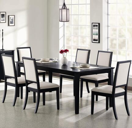 Lexton 101561SETA 7 PC Dining Room Set with Table + 6 Side Chairs in Black