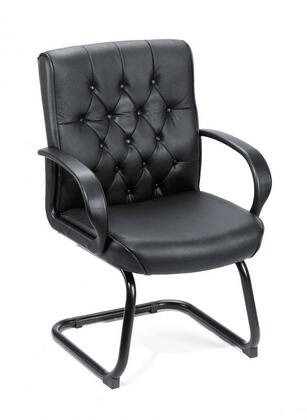 B8509-BK Black Button Tufted Mid Back Guest