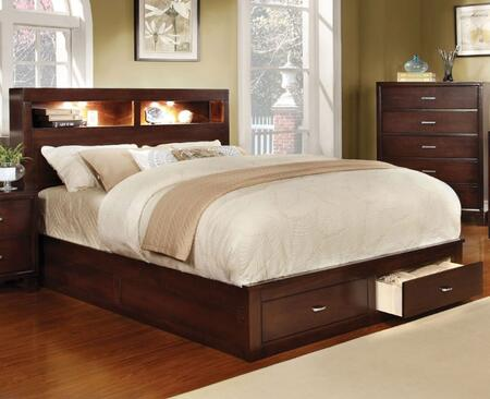 Gerico II Collection CM7291CH-Q-BED Queen Size Platform Bed with Storage Drawers  Bookcase Lighting Headboard  Solid Wood and Wood Veneer Construction in Brown