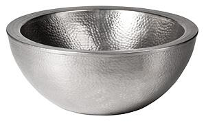 CF161SN Solid Hand Hammered Copper 16.5 inch  Diameter Double Wall Round Vessel Sink in Satin Nickel
