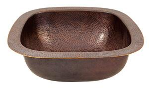 CF157AN Solid Hand Hammered Copper 18 inch  X 18 inch  Extra Large Square Bar/Prep Sink in Antique Copper