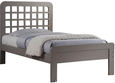 Lyford Collection 25370Q Queen Size Bed with Grid Pattern Headboard  Low Profile Footboard  Slat System Included and Poplar Wood Construction in Grey