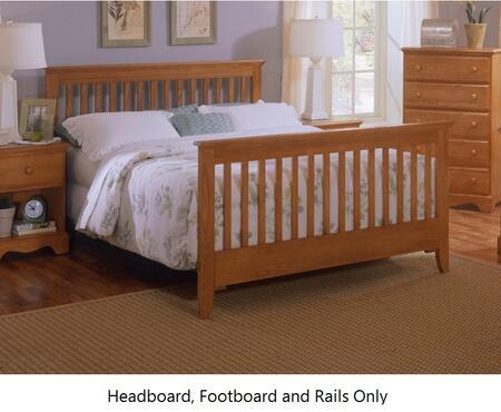 Carolina Oak 237450-3-971900 63 inch  Queen Sized Bed with Slat Headboard  Footboard and Metal Slat-less Rails in Golden