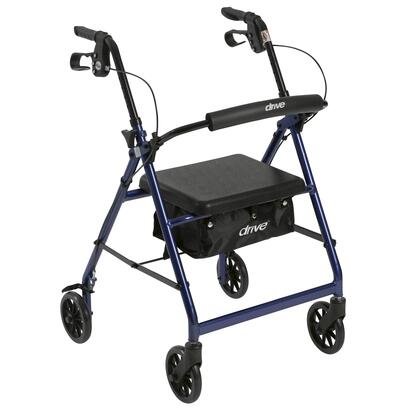 r726bl Walker Rollator With 6 Wheels  Fold Up Removable Back Support And Padded Seat