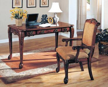 7130 Agatha Writing Desk with Arm Chair 2 Piece Set in a Cherry