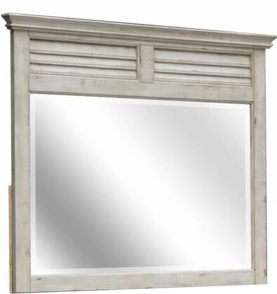 Shades of Sand Collection CF-2334-0489 50 inch  x 45 inch  Mirror with Decorative Shutters  Beveled Glass Edges and Molding Details in Antique White and Natural