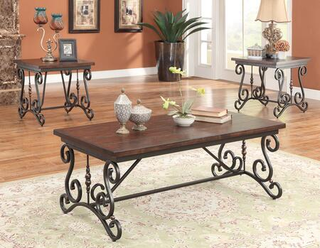 Bagga Collection 81545 3PC Pack Living Room Table Set with Rectangular Coffee Table  2 Square End Tables  Metal Trestle Base  Scrolled Shapes and Wooden Top in