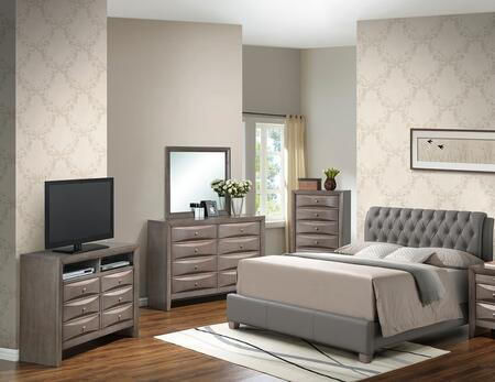 G1505CTBUPCHMDTV2 5 Piece Set including Twin Size Bed  Chest  Dresser  Mirror and Media Chest  in