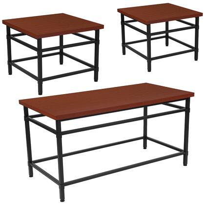 Granada Hills Collection NAN-CEK-29-GG 3 Piece Coffee And End Table Set In Norway Cherry Inlaid Wood Grain Finish And Black Metal