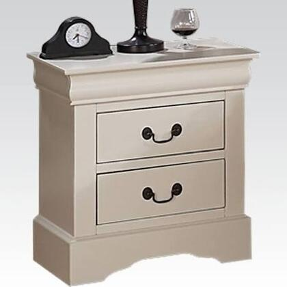 Louis Philippe III Collection 22503 22 inch  Nightstand with 2 Drawers  Bracket Feet and Metal Hardware in Cream