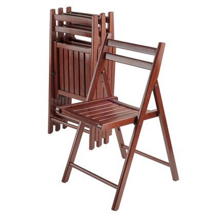 Robin 94415 4-Piece Folding Chair Set with Slatted Seats and Double Bar Backs in