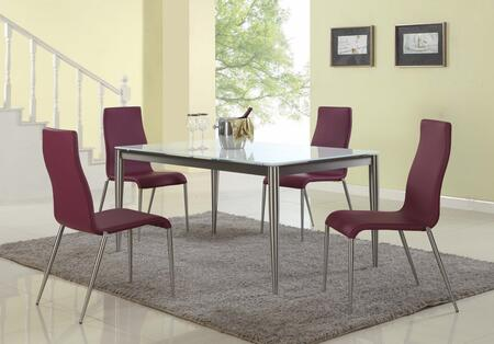 REMY-5PC-PUP REMY DINING 5 Piece Set - White Starphire Glass Dining Table with 4 Purple Contour Back Upholstered Stabled