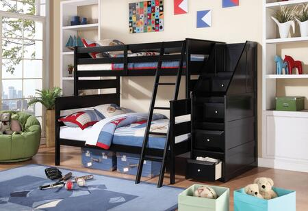 Alvis Collection 37365 Twin Over Full Size Bunk Bed with Easy Access Guard Rail  Reversible Storage Ladder and Pine Wood Construction in Black