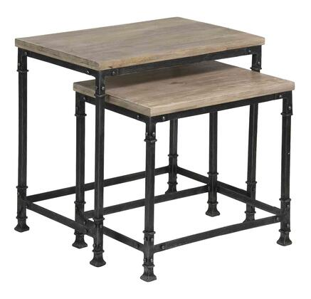 75303 Set of (2) Nesting Tables with Wood Top  Metal Base and Stretchers in Adoor Whitewash
