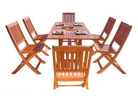 V189set7 Malibu Eco-friendly 7-piece Wood Outdoor Dining