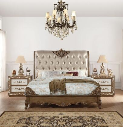 Orianne Collection 23787EK3SET 3 PC Bedroom Set with King Size Bed and 2 Nightstands in Champagne and Antique Gold