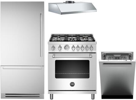 4-Piece Stainless Steel Kitchen Package with REF30PIXL 30 inch  Bottom Freezer Refrigerator  MAS304GASXT 30 inch  Freestanding Gas Range  KU30PRO1XV 30 inch  Wall Mount Hood