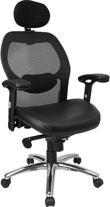 LF-W42-L-HR-GG High Back Super Mesh Office Chair with Black Leather Seat and Knee Tilt
