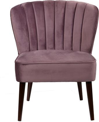 DS-D027008-477 Armless Accent Chair with Welt Trim Detailing  Channeled Back and Round Tapered Legs in Luxor