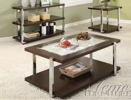 80037 Jae Espresso End Table with Glass Center