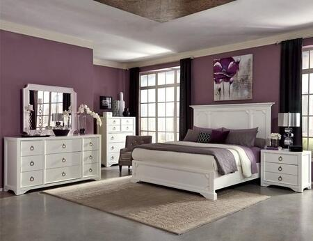 Furiani Collection 203351KWSET 5 PC Bedroom Set with California King Size Panel Bed + Dresser + Mirror + Chest + Nightstand in White