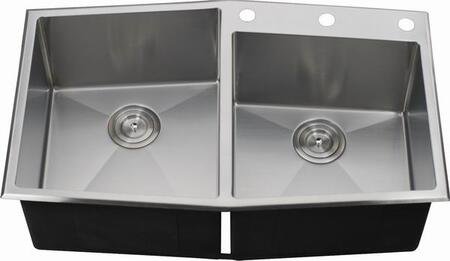 LIX-200 Veneto 33 1/2 inch  Double Bowl Undermount/Drop-in Kitchen Sink with Soundproofing System and Mounting Hardware in Stainless