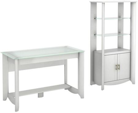 Aero Collection MY16128-03-92 2-Piece Desk Set with Writing Desk and Tall Storage Cabinet in Pure White