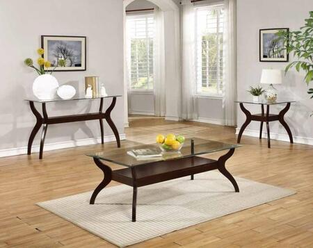 Ocassionals Table 704628CSE 3 PC Living Room Table Sets with Coffee Table + Sofa Table + End Table in Cappuccino