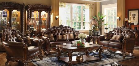 Vendome Collection 52001SLC 3 PC Living Room Set with Sofa + Loveseat + Chair in Cherry