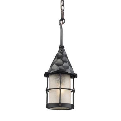 388-BK Rustica 1-Light Outdoor Pendant in Matte Black with Scavo