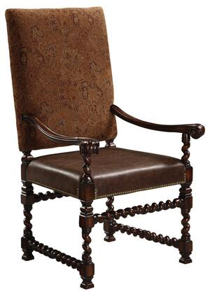 20037-620-001 Nottingham Arm Chair with Twisted Legs  Fabric Back  and Leather Seat in