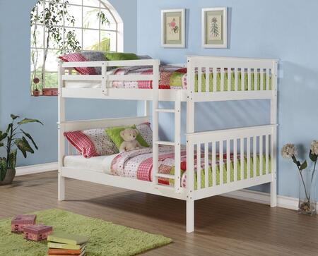 123-3W Full Over Full Mission Bunk Bed with Built in Ladder  Slat Headboard and Footboard in