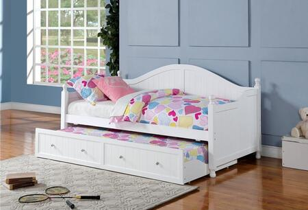 Daybeds Collection 300053 Twin Size Daybed with Roll-Out Trundle  Crystal Knobs  Arched Camel Back Design and Turned Legs in White
