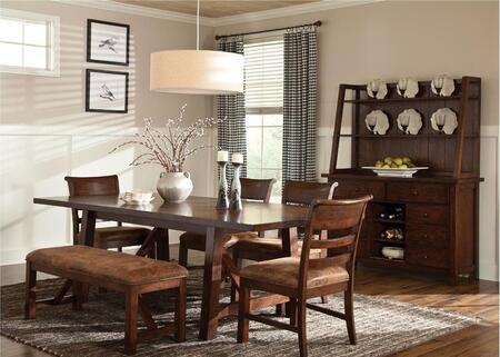 Bench Creek BK-TA-4010478944616C-RPN-C 84 inch -104 inch  Dining Room Trestle Dining Table  Bench and 4 Chairs with Distressing Detailing in Rustry