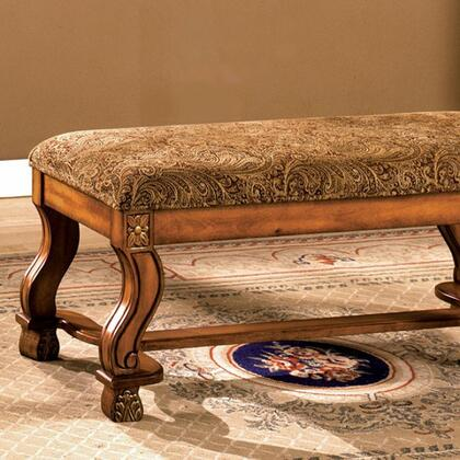 Vale Royal CM-BN6620 Bench with Bold Curved Legs  Solid Wood and Others  Padded Paisley Fabric Seat  Antique Oak Finish in Antique