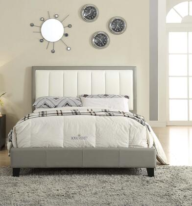 Filart Collection 26440Q Queen Size Bed with Low Profile Footboard  Eucalyptus Wood Construction and Bycast PU Leather Upholstery in Grey and Cream