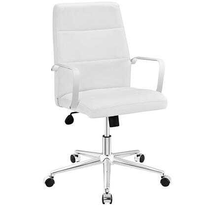 Stride Collection EEI-2121-WHI Office Chair with Adjustable Height  Swivel Seat  Polished Aluminum Base  Five Dual-Wheel Nylon Casters  Chrome Steel Frame and
