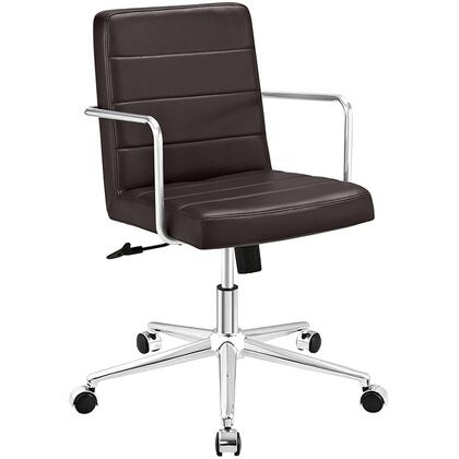 Cavalier Collection EEI-2125-BRN Office Chair with Swivel Seat  Adjustable Height  Dual-Wheel Nylon Casters  Brushed Stainless Steel Armrests  Polished Chrome