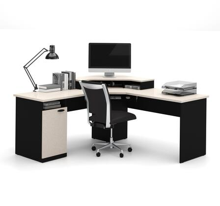 69430-4186 Hampton Corner Workstation with Simple pulls  Monitor Shelf and Shock Resistant PVC Edge in Sand Granite and