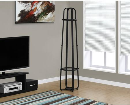 "I 2052 72"" Coat Rack with Hanging Pegs  Classic Design and Umbrella Holder in Black"