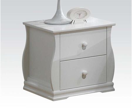 Nebo Collection 30104 19 inch  Nightstand with 2 Drawers  Round Hardware and Side Metal Glide Drawers in White