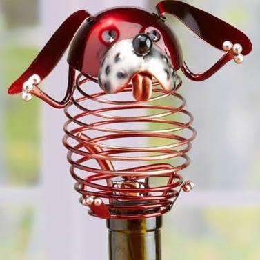 DFA1874 Wine Bottle Stopper - Dog in Brown