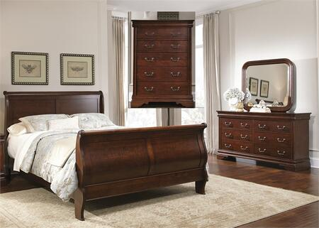 Carriage Court Collection 709-BR-QSLDMC 4-Piece Bedroom Set with Queen Sleigh Bed  Dresser  Mirror and Chest in Mahogany Stain