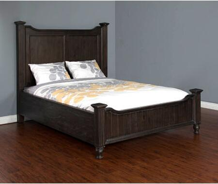 Carriage House Collection 2308EC-Q 90 Queen Bed with Turned Legs  Bun Feet and Molding Details in European Cottage