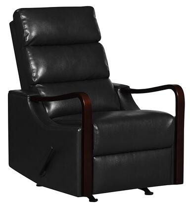 21310-BLACK Rissanti Salerno Zerostrain Glider Recliner with Espresso Arm Rest in